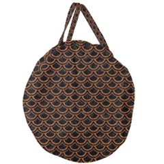 Scales2 Black Marble & Rusted Metal (r) Giant Round Zipper Tote by trendistuff