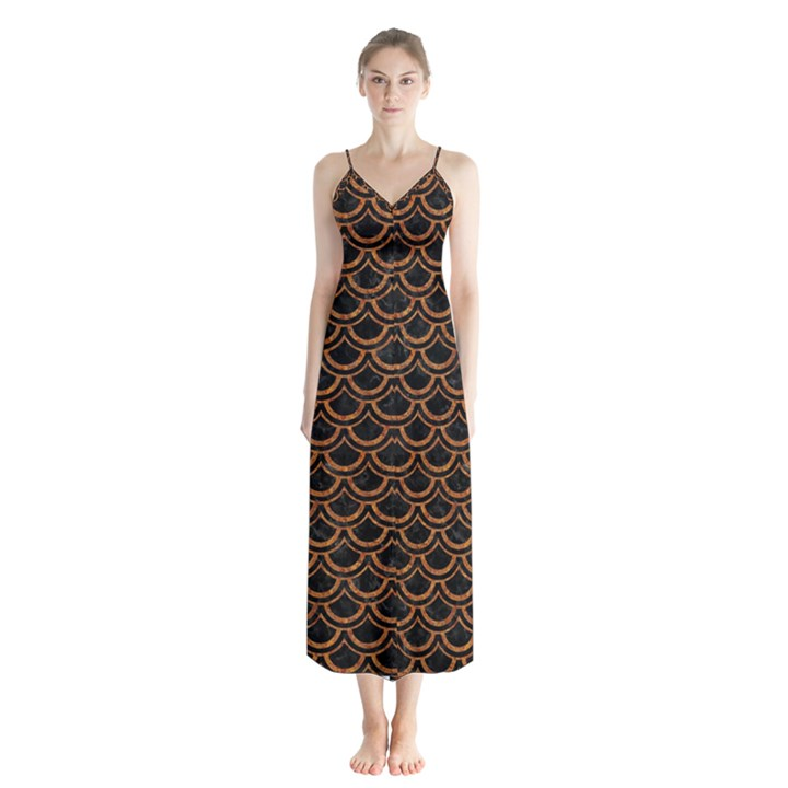 SCALES2 BLACK MARBLE & RUSTED METAL (R) Button Up Chiffon Maxi Dress