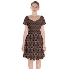 Scales2 Black Marble & Rusted Metal (r) Short Sleeve Bardot Dress by trendistuff