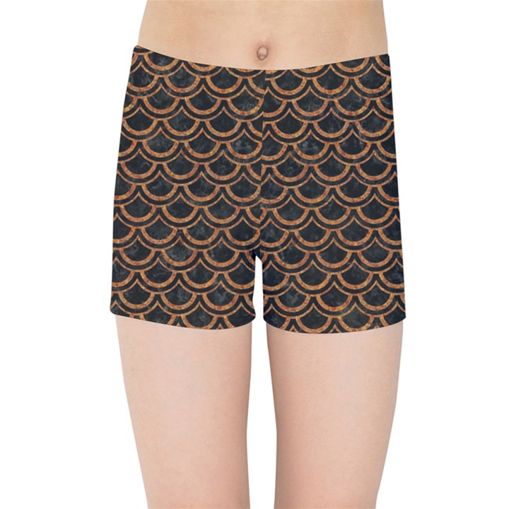 SCALES2 BLACK MARBLE & RUSTED METAL (R) Kids Sports Shorts