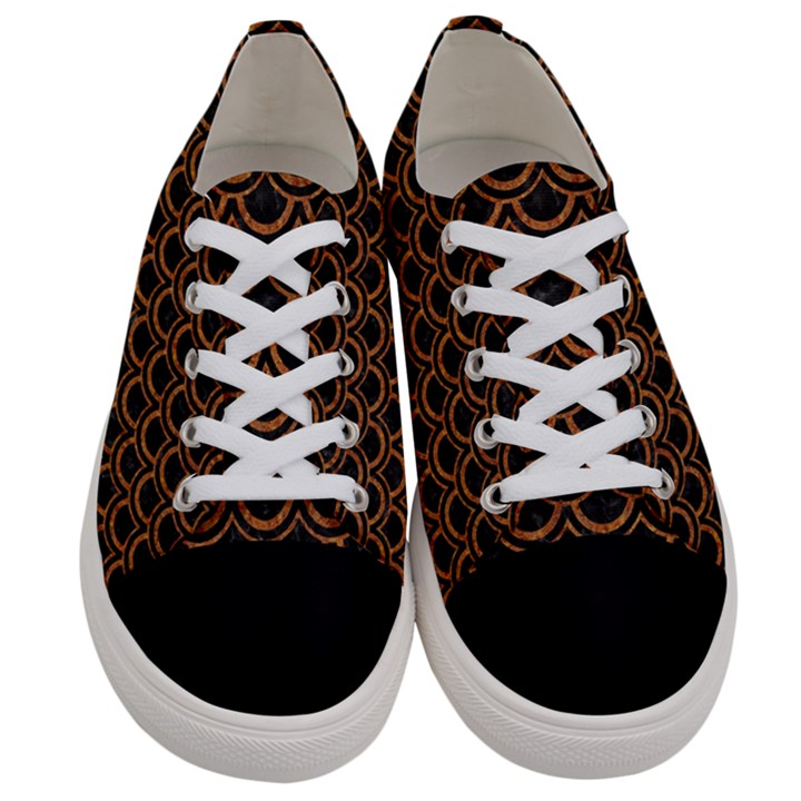 SCALES2 BLACK MARBLE & RUSTED METAL (R) Women s Low Top Canvas Sneakers