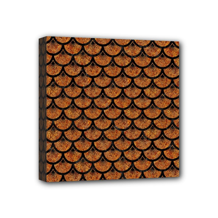 SCALES3 BLACK MARBLE & RUSTED METAL Mini Canvas 4  x 4