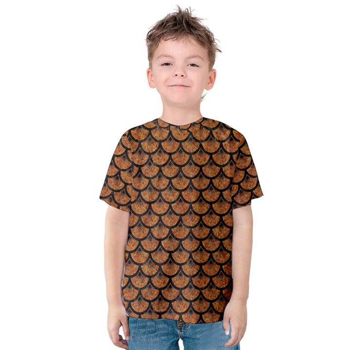 SCALES3 BLACK MARBLE & RUSTED METAL Kids  Cotton Tee