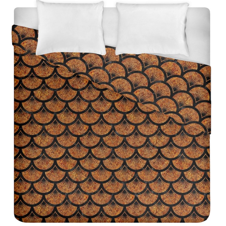 SCALES3 BLACK MARBLE & RUSTED METAL Duvet Cover Double Side (King Size)