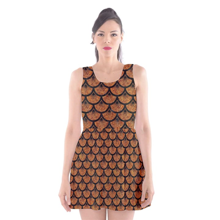 SCALES3 BLACK MARBLE & RUSTED METAL Scoop Neck Skater Dress