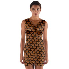 Scales3 Black Marble & Rusted Metal Wrap Front Bodycon Dress
