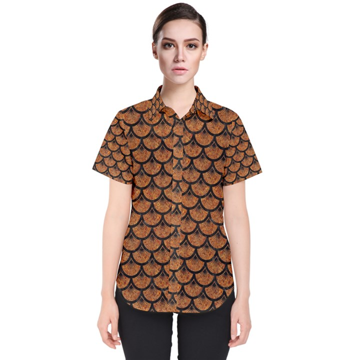 SCALES3 BLACK MARBLE & RUSTED METAL Women s Short Sleeve Shirt