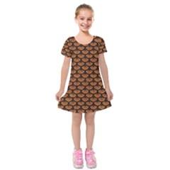 SCALES3 BLACK MARBLE & RUSTED METAL Kids  Short Sleeve Velvet Dress