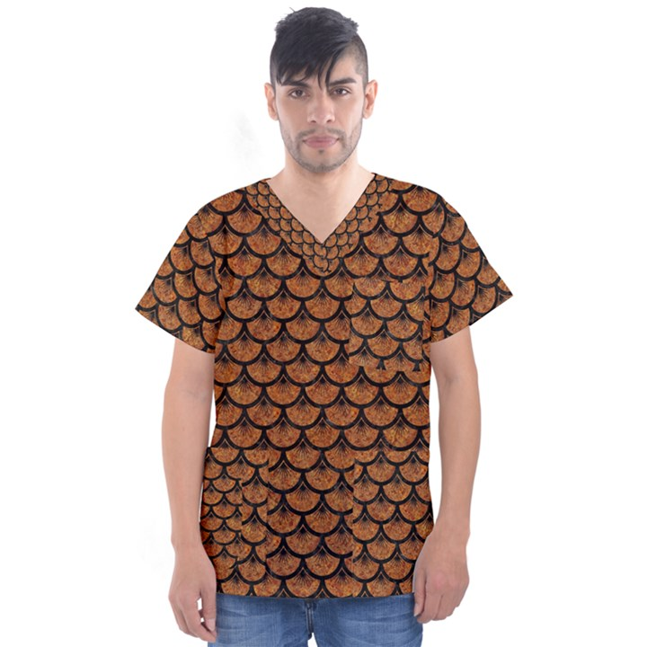 SCALES3 BLACK MARBLE & RUSTED METAL Men s V-Neck Scrub Top