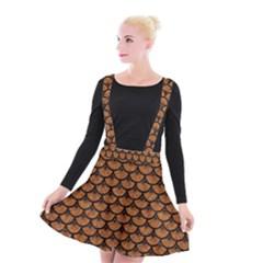 Scales3 Black Marble & Rusted Metal Suspender Skater Skirt