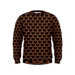 Scales3 Black Marble & Rusted Metal (r) Kids  Sweatshirt