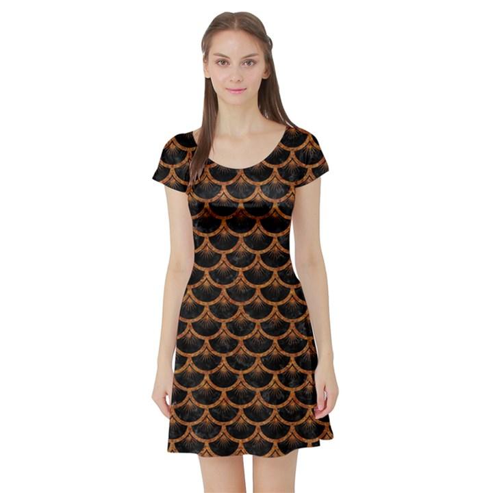 SCALES3 BLACK MARBLE & RUSTED METAL (R) Short Sleeve Skater Dress