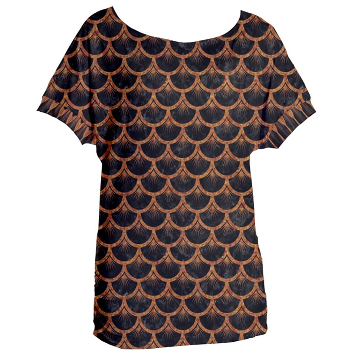 SCALES3 BLACK MARBLE & RUSTED METAL (R) Women s Oversized Tee
