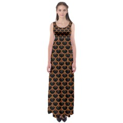 Scales3 Black Marble & Rusted Metal (r) Empire Waist Maxi Dress