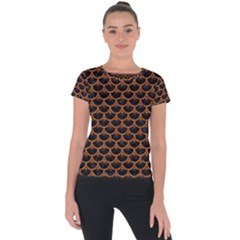 Scales3 Black Marble & Rusted Metal (r) Short Sleeve Sports Top