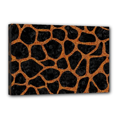 SKIN1 BLACK MARBLE & RUSTED METAL Canvas 18  x 12