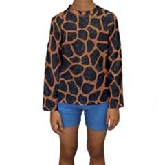 SKIN1 BLACK MARBLE & RUSTED METAL Kids  Long Sleeve Swimwear
