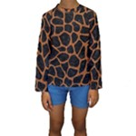 SKIN1 BLACK MARBLE & RUSTED METAL Kids  Long Sleeve Swimwear