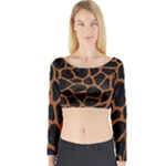 SKIN1 BLACK MARBLE & RUSTED METAL Long Sleeve Crop Top