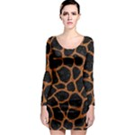 SKIN1 BLACK MARBLE & RUSTED METAL Long Sleeve Bodycon Dress