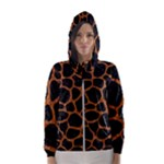 SKIN1 BLACK MARBLE & RUSTED METAL Hooded Wind Breaker (Women)