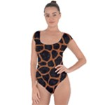 SKIN1 BLACK MARBLE & RUSTED METAL Short Sleeve Leotard