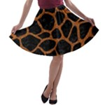 SKIN1 BLACK MARBLE & RUSTED METAL A-line Skater Skirt