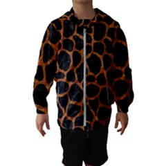 Skin1 Black Marble & Rusted Metal Hooded Wind Breaker (kids)
