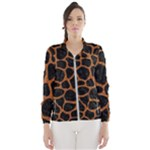 SKIN1 BLACK MARBLE & RUSTED METAL Wind Breaker (Women)
