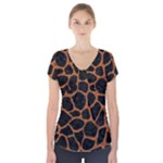 SKIN1 BLACK MARBLE & RUSTED METAL Short Sleeve Front Detail Top