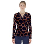 SKIN1 BLACK MARBLE & RUSTED METAL V-Neck Long Sleeve Top