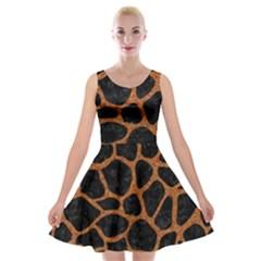 SKIN1 BLACK MARBLE & RUSTED METAL Velvet Skater Dress