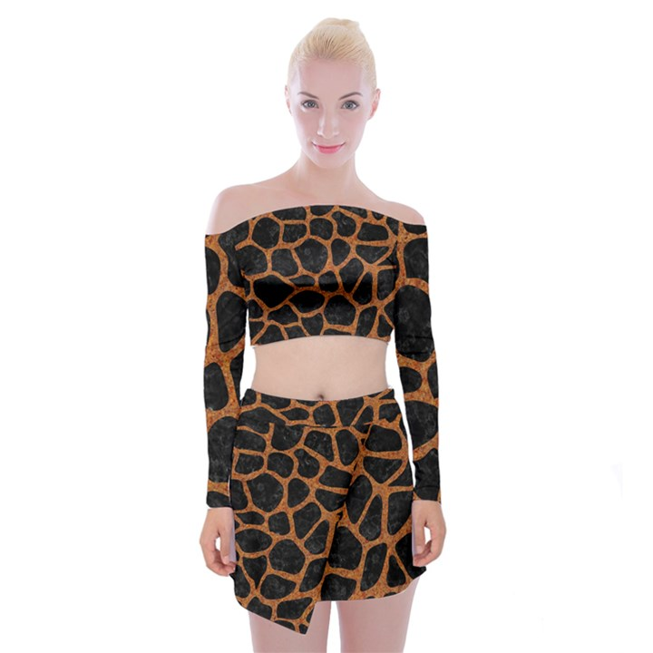 SKIN1 BLACK MARBLE & RUSTED METAL Off Shoulder Top with Mini Skirt Set