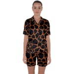 SKIN1 BLACK MARBLE & RUSTED METAL Satin Short Sleeve Pyjamas Set