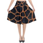 SKIN1 BLACK MARBLE & RUSTED METAL Flared Midi Skirt