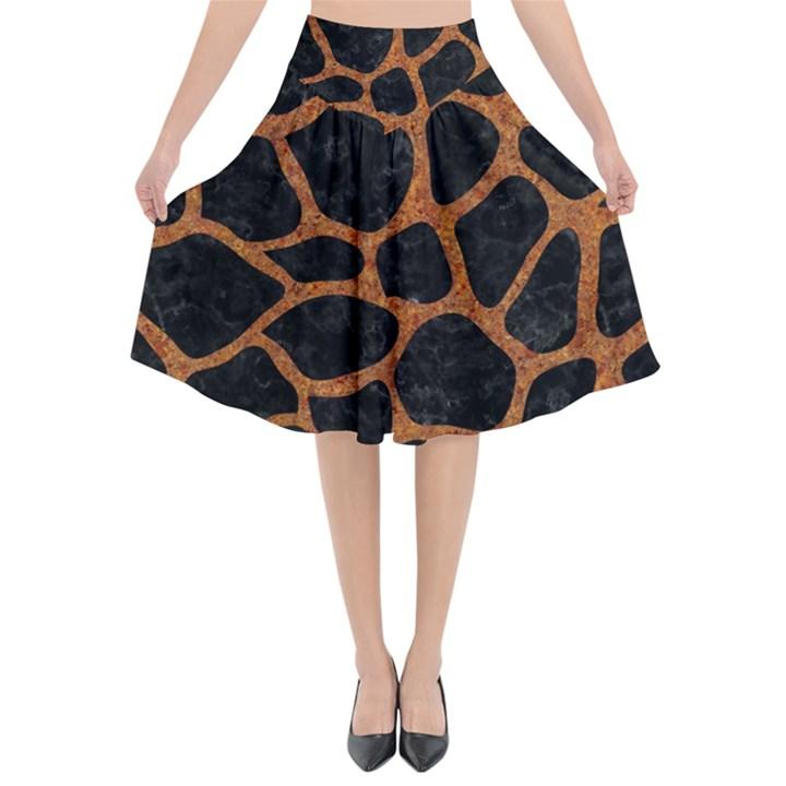SKIN1 BLACK MARBLE & RUSTED METAL Flared Midi Skirt