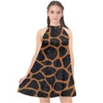 SKIN1 BLACK MARBLE & RUSTED METAL Halter Neckline Chiffon Dress