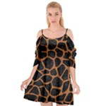 SKIN1 BLACK MARBLE & RUSTED METAL Cutout Spaghetti Strap Chiffon Dress