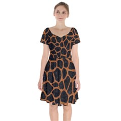 Skin1 Black Marble & Rusted Metal Short Sleeve Bardot Dress