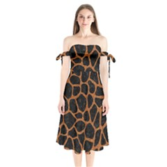 SKIN1 BLACK MARBLE & RUSTED METAL Shoulder Tie Bardot Midi Dress