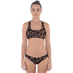 Skin1 Black Marble & Rusted Metal Cross Back Hipster Bikini Set
