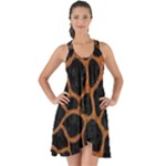 SKIN1 BLACK MARBLE & RUSTED METAL Show Some Back Chiffon Dress