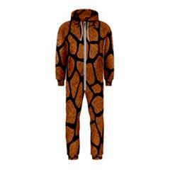 Skin1 Black Marble & Rusted Metal (r) Hooded Jumpsuit (kids)