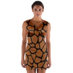 SKIN1 BLACK MARBLE & RUSTED METAL (R) Wrap Front Bodycon Dress