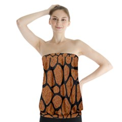 Skin1 Black Marble & Rusted Metal (r) Strapless Top