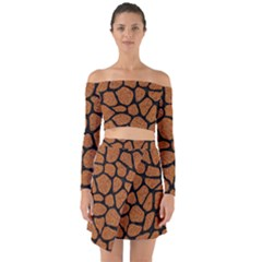 Skin1 Black Marble & Rusted Metal (r) Off Shoulder Top With Skirt Set