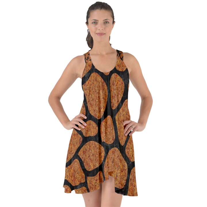 SKIN1 BLACK MARBLE & RUSTED METAL (R) Show Some Back Chiffon Dress