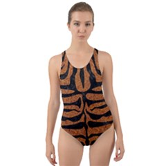 SKIN2 BLACK MARBLE & RUSTED METAL Cut-Out Back One Piece Swimsuit