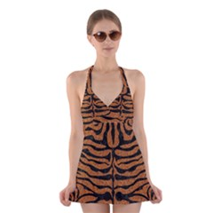 Skin2 Black Marble & Rusted Metal Halter Dress Swimsuit