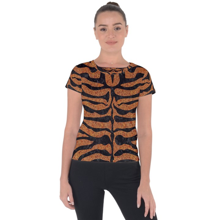 SKIN2 BLACK MARBLE & RUSTED METAL Short Sleeve Sports Top